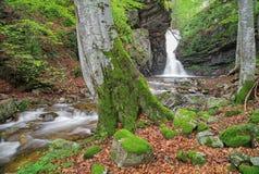 Kleiner Wasserfall in Balkan-Bergen Stockfoto