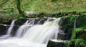 Kleiner Wasserfall in Brecon erleuchtet Nationalpark in Südwales im April Lizenzfreies Stockfoto