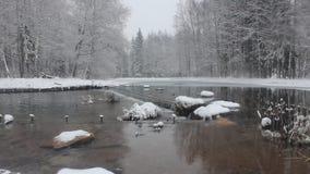 Kleiner Wasserfall im Winter stock video