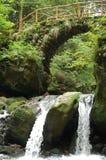Kleiner Wasserfall mit Brücke Stockbild
