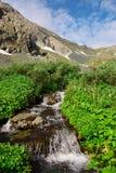 Kleiner Wasserfall und Berg. lizenzfreies stockbild