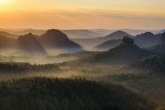 Kleiner Winterberg silhouettes, Saxon Switzerland, Germany Royalty Free Stock Photography