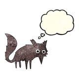 kleiner Wolf der lustigen Karikatur mit Gedankenblase Lizenzfreies Stockfoto
