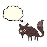 kleiner Wolf der lustigen Karikatur mit Gedankenblase Lizenzfreie Stockbilder