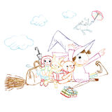 Kleiner Zauberer und Freunde, Zeichenstiftzeichnungen lizenzfreie abbildung