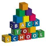 Kleinere school die van stuk speelgoed blokken wordt gebouwd Royalty-vrije Stock Foto's