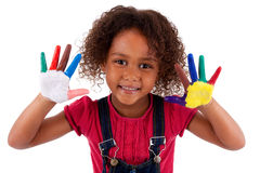 Kleines afrikanisches asiatisches Mädchen mit den Händen gemalt Lizenzfreie Stockfotografie