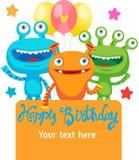 Kleines ausländisches Geschöpf Monster-Partei-Einladungs-Karten-Design mit Platz für Text Lizenzfreies Stockbild