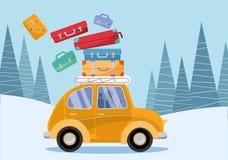 kleines Auto auf Dublin-Stadtkarte Gelbes Weinleseauto mit Reisekoffern auf Dach Wintertourismus, Reise, Reise Flache Karikaturve vektor abbildung