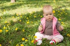 Kleines Baby, das im Park auf dem Gras spielt Stockbilder