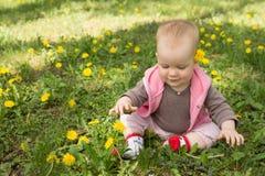 Kleines Baby, das im Park spielt Stockbild