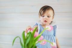 Kleines Baby in einem blauen Kleid berührt Tulpen stockfotos