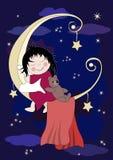 Kleines Baby schläft auf Mond Stockbild