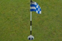 Kleines Blau und weiße Flagge auf einer Praxis grünen Stockfoto