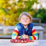 Kleines blondes Kind, das mit Kastanien im Herbstpark spielt Lizenzfreies Stockfoto
