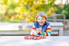 Kleines blondes Kind, das mit Kastanien im Herbstpark spielt Lizenzfreies Stockbild