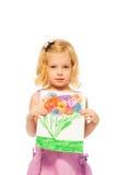 Kleines blondes Mädchen, das ihre Abbildung zeigt Lizenzfreie Stockfotografie