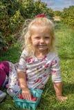 Kleines blondes Mädchen an einem Beerenbauernhof Lizenzfreies Stockfoto