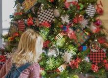 Kleines blondes Mädchen hypnotisiert durch verzierten Weihnachtsbaum Lizenzfreie Stockbilder