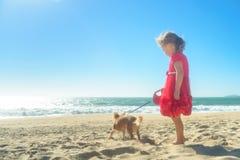 Kleines blondes Mädchen im roten Kleid mit Hund auf dem Strand Stockbild
