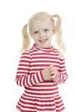 Kleines blondes Mädchen lokalisiert auf weißem Hintergrund Stockfotos
