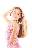 Kleines blondes Mädchen mit dem langen Haar Lizenzfreies Stockbild