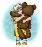 Kleines blondes Mädchen mit Teddybären Stockbilder