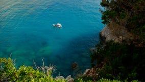 Kleines Boot auf schönem Meer in Lefkas-Insel, Griechenland Stockfoto