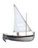 Kleines Boot mit den Segeln unfurled Lizenzfreie Stockfotografie