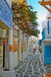 Kleines buntes Mykonos Stockbild