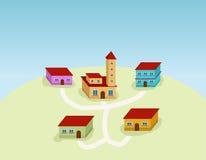 Kleines Dorf stock abbildung