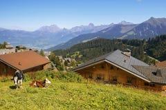 Kleines Dorf in den Alpen, die Schweiz Lizenzfreie Stockfotos