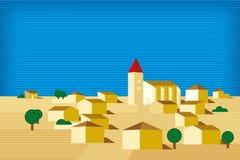 Kleines Dorf Geometrische Landschaft mit Gebäuden und horizont lizenzfreie abbildung