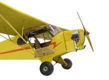 Kleines Einzeltriebwerkgelbflugzeug isolat der Weinlese Stockbilder