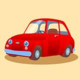 Kleines, Familie-geführtes rotes Auto Stockfotografie