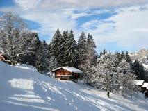 Kleines Feiertagshaus in den Alpen Stockbilder