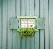 Kleines Fenster mit Blumen Lizenzfreie Stockfotografie