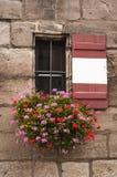 Kleines Fenster mit dem Blumenkasten voll von den bunten Blumen Lizenzfreie Stockbilder
