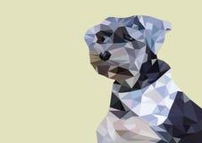 Kleines geschossenes niedriges Poly des Hundekopfes Stockfotografie