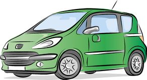 Kleines grünes Auto Stockfoto