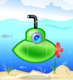Kleines grünes Unterseeboot lizenzfreie abbildung