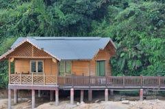 Kleines hölzernes Haus, das mit Grünpflanze surrouding ist Lizenzfreies Stockfoto