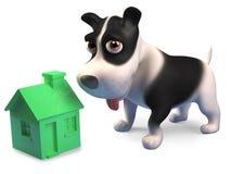Kleines Hündchen spielt mit einem kleinen grünen Haus, 3d zu übertragen stock abbildung