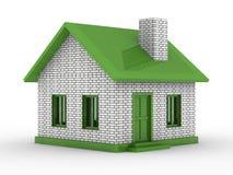 Kleines Haus auf weißem Hintergrund Stockfoto