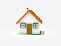 Kleines Haus auf weißem Hintergrund Stockfotos