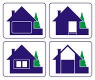 Kleines Haus mit einem Pelzbaum (Logo) lizenzfreies stockbild