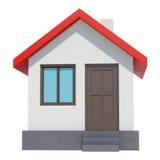 Kleines Haus mit rotem Dach auf weißem Hintergrund Stockbild