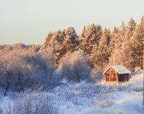 Kleines Haus mitten in einem Winterwald stockbild