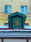 Kleines Haus von Karlsson auf dem Dach. St Petersburg, Russland. Lizenzfreie Stockbilder