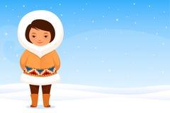 Kleines Inuitmädchen in der traditionellen Kleidung Stockbild